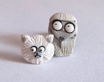 Weird Girl and Mr. Whiskers Frankenweenie Persian White Halloween Scary Cat Movie Inspiration Tv Jewelry Unique Fun Film Character Earrings
