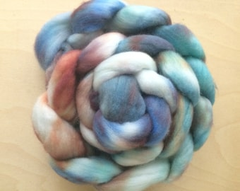 Cloudy Sunset, 4.0 oz Handpainted Polwarth top for spinning OOAK