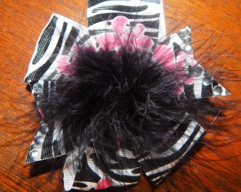 Zebra Print Fleur De Lis Pinwheel Hair Bow, Pinwheel Hair Bow, Black and Pink Hair Bow, Zebra Print Hair Bow, Fleur De Lis Hair Bow, Hairbow