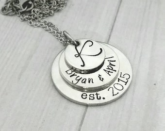 Stacked pewter pendant necklace, personalized layered necklace