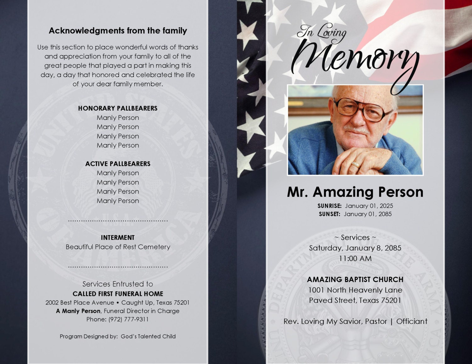 Unusual Obituary Program Template Pictures Inspiration Entry Level - Free printable funeral program template
