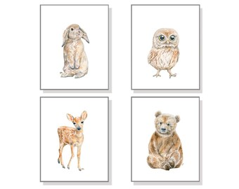 Forest Nursery Art Woodland Creature Painting Baby Animal Print Animal Watercolor Children Room Bear Cub Deer Bird Owl Bunny Rabbit Set of 4