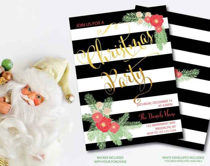 Christmas Party Invitation Christmas Party Invite Black White Stripes Printable Faux Gold Foil Eat Drink Glitter - Holiday Collection