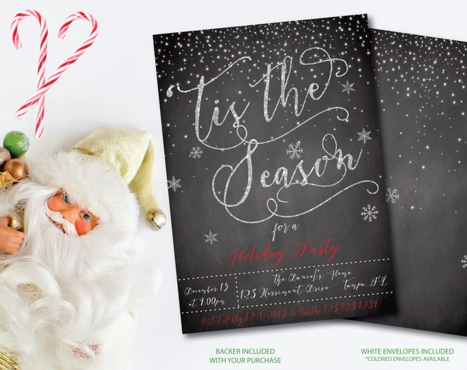 Christmas Party Invitation Christmas Party Invite Chalkboard Tis the Season Printable Snowflakes Faux Glitter Snow - Holiday Collection
