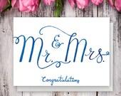 Mr & Mrs Congratulations – Unique hand lettered wedding Congratulations card