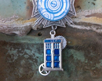 "Steampunk ""Gallifreyan"" Silver Tardis Chest Medal"