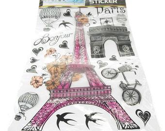 Paris Eiffel Tower Wall Decor, 3D Stickers