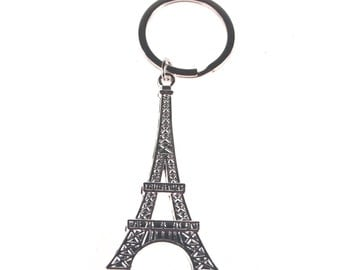 Metal Eiffel Tower Key Chain, Silver, 2-1/2-inch