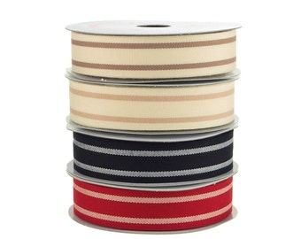 Dual Stripes Grosgrain Ribbon, 7/8-Inch, 10 Yards