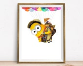 Russell Minion Print Up Disney Character Wall Decor Art Home Decor Wall Hanging