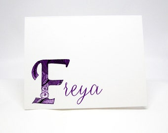 Personalized Note Cards Stationery with Hand Drawn Initial F and Name - Set of 8 Elegant Folded Personalized Cards
