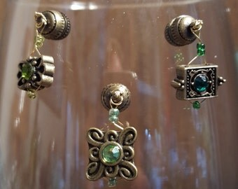 Stemless Wine Charms - Dragonfire Crystal, Bronze/Green