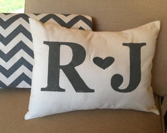 Personalized Pillow Cover - 12x16 - Initial pillow cover, farmhouse, cottage chic, handpainted, decorative pillow cover