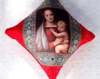 Handmade Christmas ornament, Madonna and Child, Italian Christmas, Renaissance Christmas, red ornament