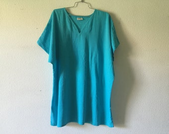 Vintage Blouse - Cotton Gauze Long Loose Top Free Size
