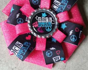 Rock Star Hair Bow. Rock Star Hair Clip. Glitter Hair Bow. Rock and Roll Hair Bow.