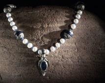 Gemstone Necklace, Opal Jewelry, Silver 925 Pendant, Opal, Sapphire Necklace, Pearl Necklace, Beads Necklace, Inlaid Fine Lapis, Unisex OOAK
