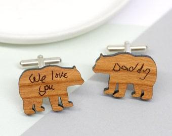 Bear Cufflinks, Wooden Cufflinks, Handwritten Cufflinks, Gift for Dad, Custom Dad Gift, Handwritten Daddy Bear Cufflinks