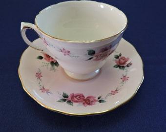 Colclough England Pink Roses on Pink Gold Gilt Trim Tea Cup and Saucer