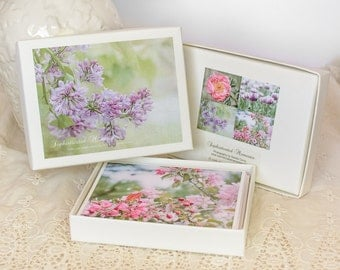 Gift for Her - Floral Photography Greeting Card Set - Gift Box of Notecards - Photo Note Cards - Pink and Purple Pastel Flowers - Lilacs