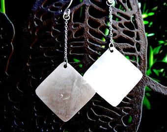 Silver Square Dangle Earrings (E59)