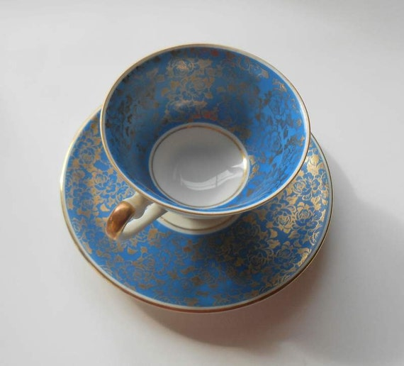 Demitasse Cup And Saucer Bavaria ALKA Kuns Kronach After Dinner Coffee Blue and Gold