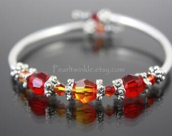Red Crystal Bracelet, Valentine gift Under 30 50, Red Swarovski Crystal Bracelet, Orange Crystal Bracelet, For Her, Gift Box