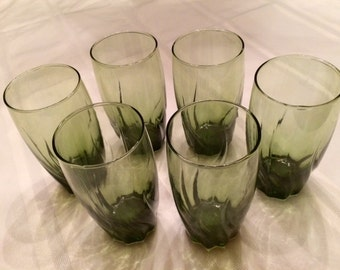 Vintage Avocado Green Drinking Glasses/Tumblers