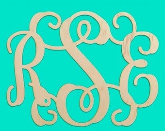 "Unfinished 14"" Wood Monogram"