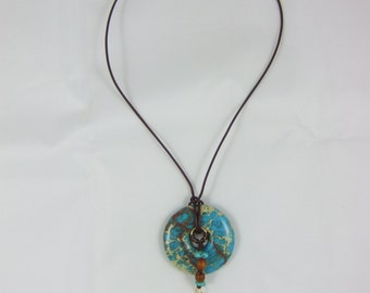 Turquoise Pendant Necklace on Leather Cord
