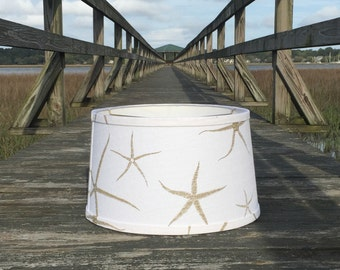 Custom lamp shades and lamp finials by creativelampshades on etsy modified custom white drum lampshade in starfish slubby linen aloadofball Gallery