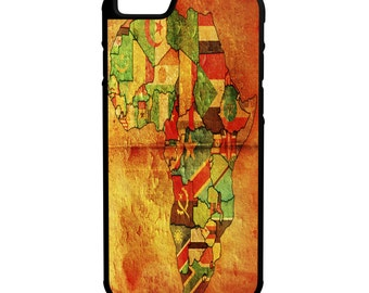 Map of Africa With Flags iPhone Galaxy Note HTC LG Hybrid Rubber Protective Case