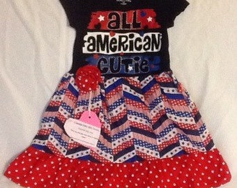 12 month Toddler T-shirt Dress/ Patriotic baby dress/ Polka dots, Chervon and ruffles/ All American Cutie Tshirt Dress