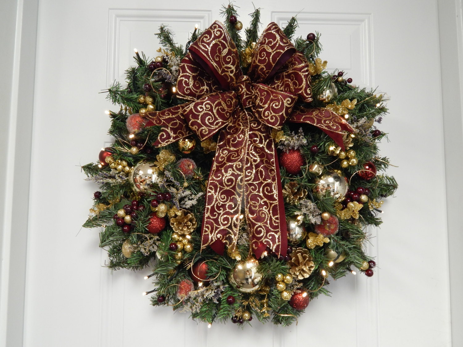 Pre Lit Christmas Wreaths Battery Operated