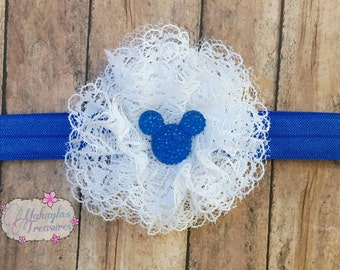 Girls Hair Clips ~ Royal Blue, White Lace ~ Baby Head Bands ~ Toddler Accessories ~ Baby Girl Headband ~ Toddler Headband ~ Newborn Headband