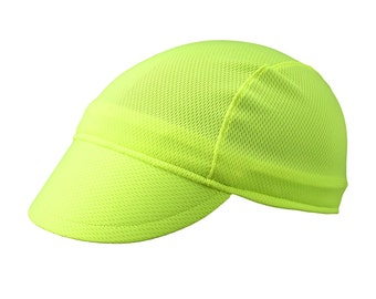 Neon/yellow moisture wicking cycling cap - handmade cap; moisture wicking cap; bicycle cap; polyester cap; bike wear; cycling clothes