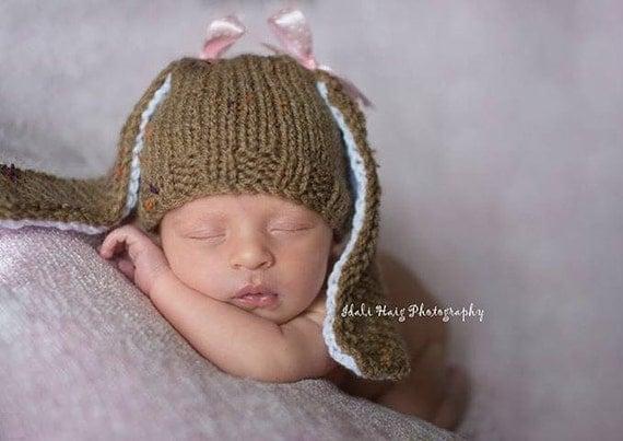 Knitting Pattern Floppy Beanie : Baby Bunny hat Knitting PATTERN - Newborn knitting pattern ...