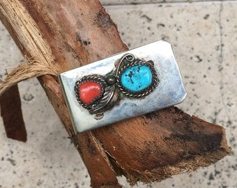 Vintage Turquoise and Coral Mini Money Clip