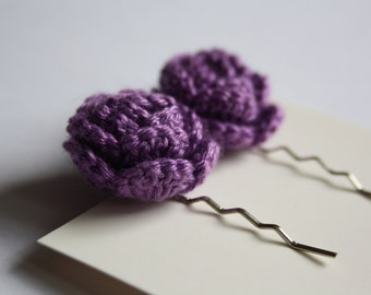 Crochet Rose Hair Bobby Pins