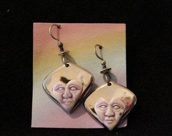 Porcelain Heart Dangle Earrings Platinum and Lavender