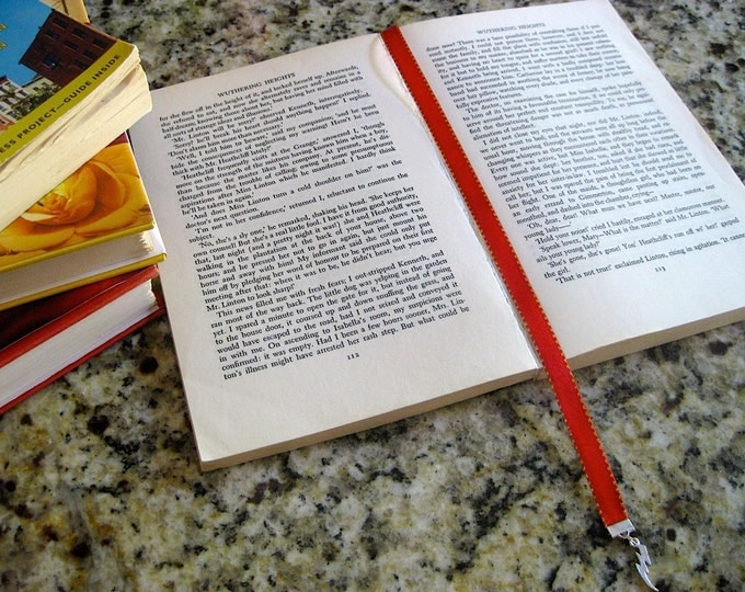 Featured listing image: Harry Potter inspired bookmark with clip - Attach clip to book cover then mark the page with the ribbon. Never lose your bookmark!