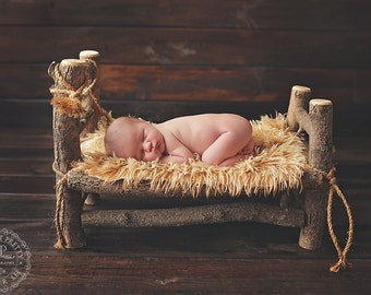 DELUX Real Wood Unique Newborn Baby / Doll Log Bed WITH Faux Fur Throw Photo Photography Prop