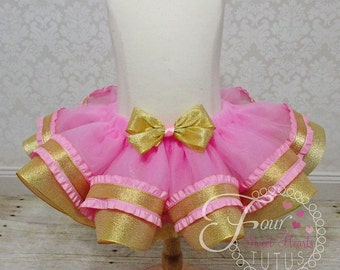 Custom Pink and Gold Tutu, First Birthday Tutu, Pageant Tutu, Girl Birthday Tutu, Pink and Gold Birthday, Custom Colors Available
