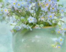 Flower Art Print, Forget Me Not Flower, Wildflower Art, Garden Art, Floral Art, Large Prints, Wildflower Bouquet, Still Life Print