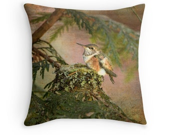 Hummingbird Decor, Wildlife Decor, Bird Cushion, Hummingbird Cushion, Hummingbird Pillow, Nature Cushion, Bird Throw Pillow, Bird Decor