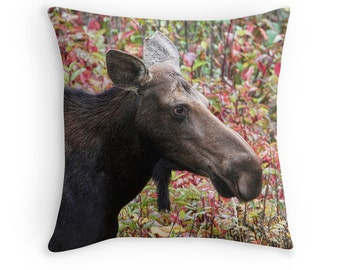 Moose Pillow, Woodland Decor, Moose Decor, Woodland Animals, Rustic Decor,Animal Decor,Animal Cushion, Animal Throw Pillow, Wildlife Cushion