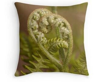 Woodland Decor, Fern Cushion, Fern Throw Pillow, Fiddlehead Fern, Heart Pillow, Heart Cushion, Romantic Gift, Woodland Cushion, Gift for Her