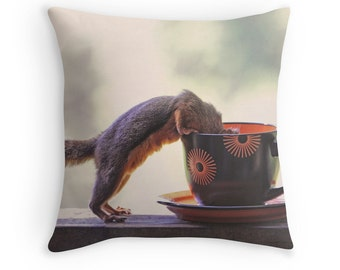 Squirrel Pillow, Coffee Decor, Squirrel Cushion, Coffee Cushion, Coffee Throw Pillow, Funny Cushion, Funny Pillow, Funny Animal Cushion
