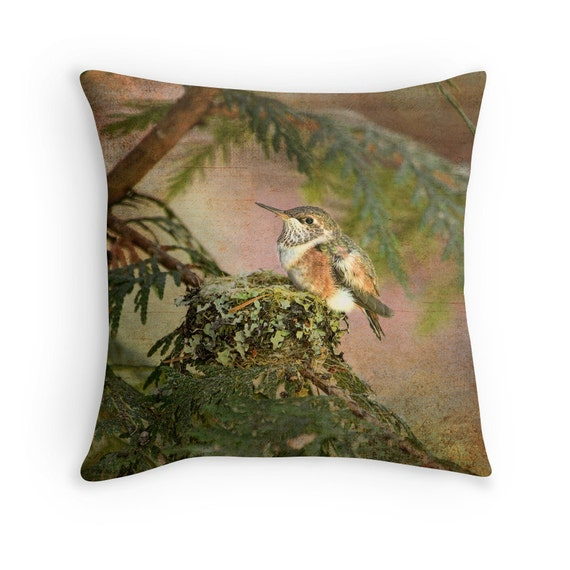 Hummingbird decor wildlife decor bird cushion hummingbird for Hummingbird decor