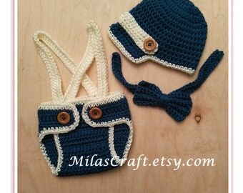 Crochet Baby Boy Set - Newsboy Hat, Diaper Cover with Suspenders, Bow Tie, Baby Shower Gift,Photo Prop,Newborn Boy Coming home outfit